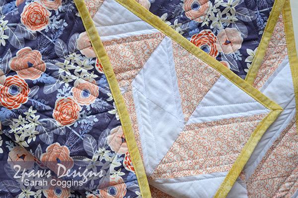 Baby Girl Floral Herringbone Quilt detail