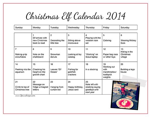 Christmas Elf Calendar 2014