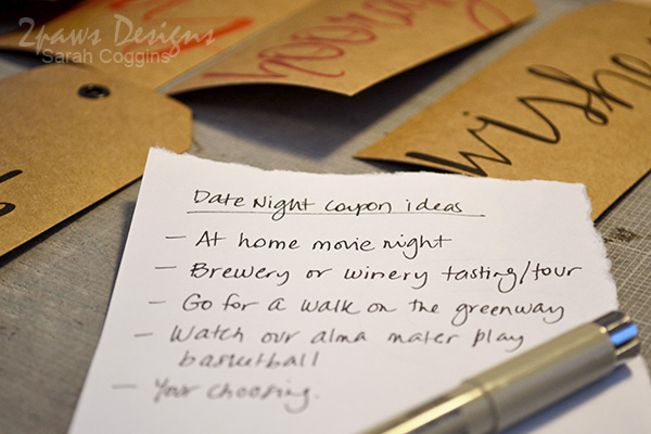 Ideas for a date night with your sweetheart. 2pawsdesigns.com
