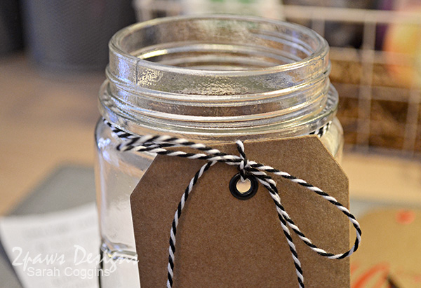 Decorate the your date night idea jar with a bit of baker's twine & an extra tag. 2pawsdesigns.com