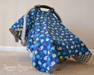 Whale Print Infant Car Seat Cover