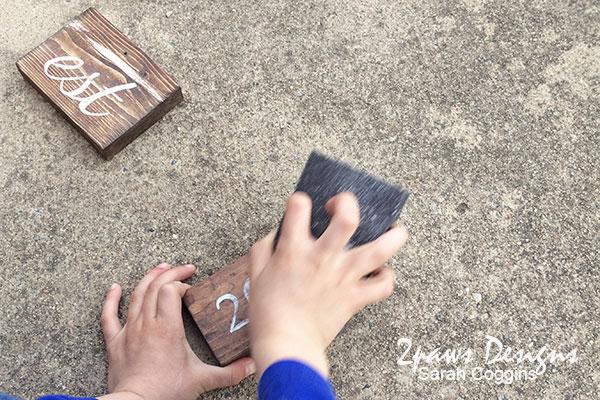 DIY Established Sign: sanding