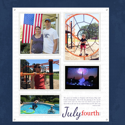 July 4th 2014 digital scrapbook page