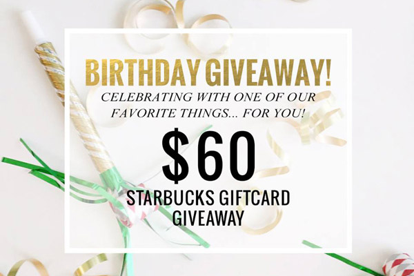 $60 Starbucks Giftcard Giveaway