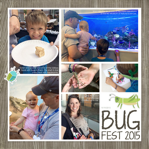 Bug Fest: September 2015 digital scrapbook page