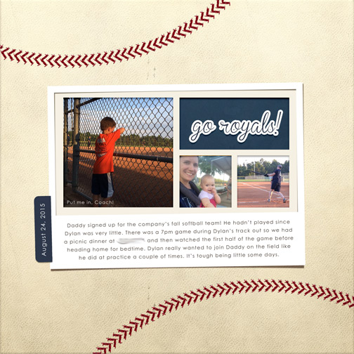 Softball: August 2015 digital scrapbooking page