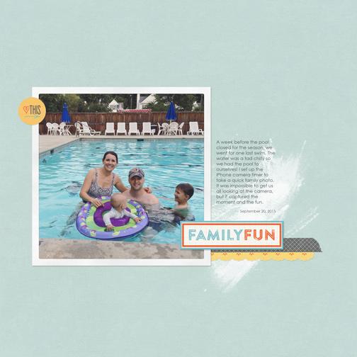 Family Fun: Swimming digital scrapbook page