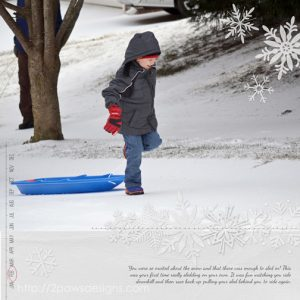 Snow Day: February 2015 digital scrapbook page