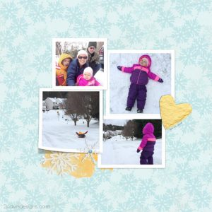 Snow Day - January 2016 digital scrapbook page