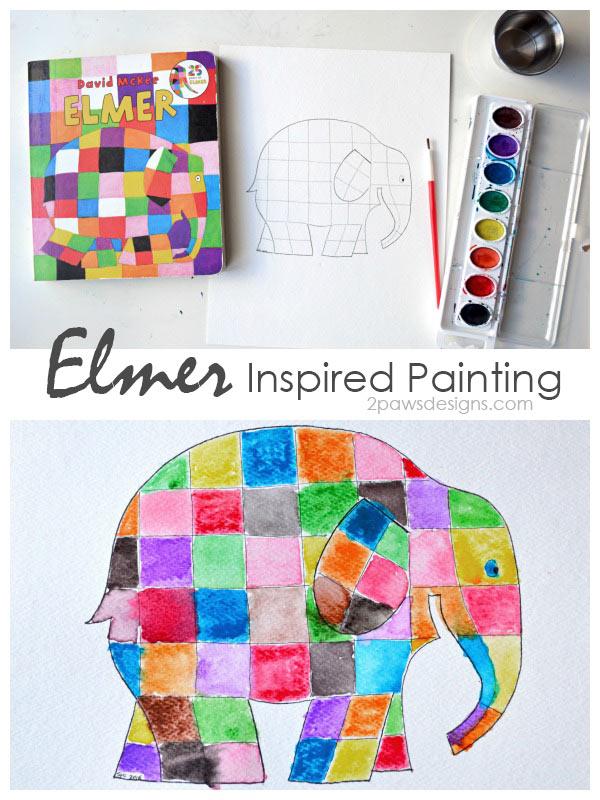 Elmer the Elephant inspired Painting