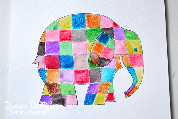 Elmer Elephant inspired Painting: Complete
