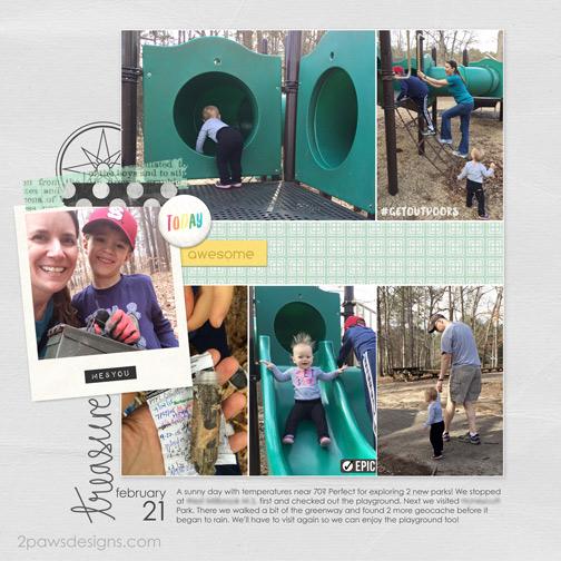 Playground & Geocaching digital scrapbook page