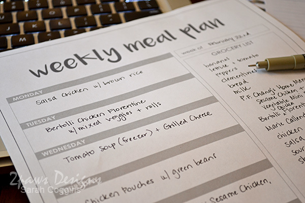 Weekly Meal Plan: free printable
