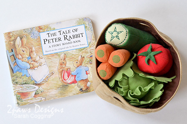The Tale of Peter Rabbit Board Book + Basket of Ikea Plush Vegetables
