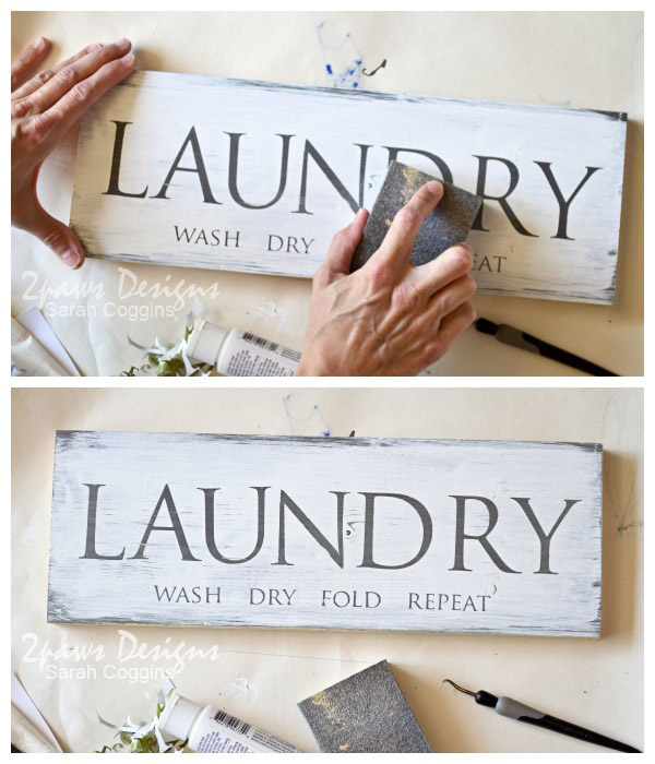 DIY Laundry Room Sign: Sanding