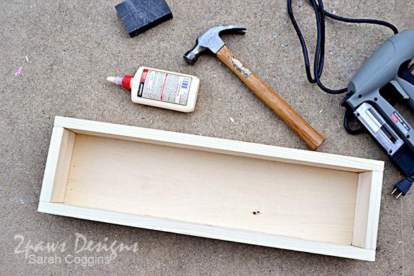DIY Bathroom Organizer: box constructed