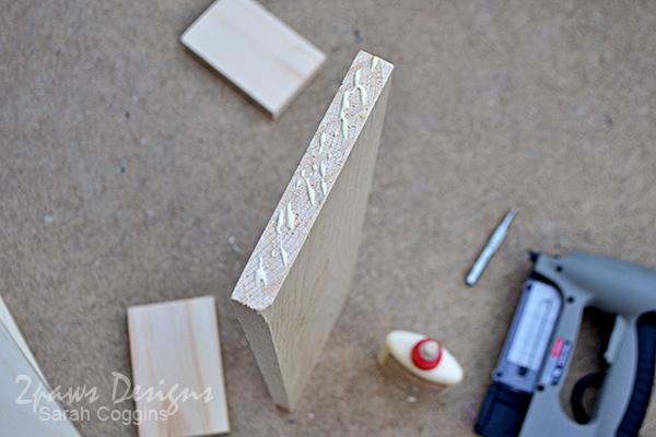 DIY Bathroom Organizer: wood glue application