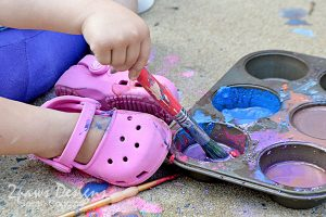 DIY Sidewalk Paint: Painted Shoes