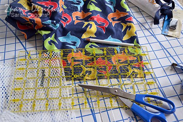 DIY Seashell Bag: Step 1 - Cutting Swim Trunk Fabric