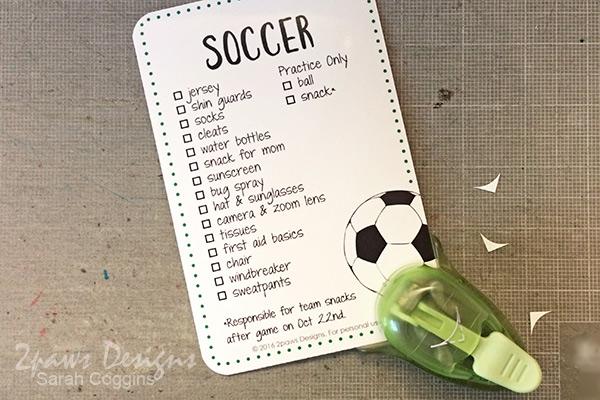 Soccer List Printable: Punch Corners