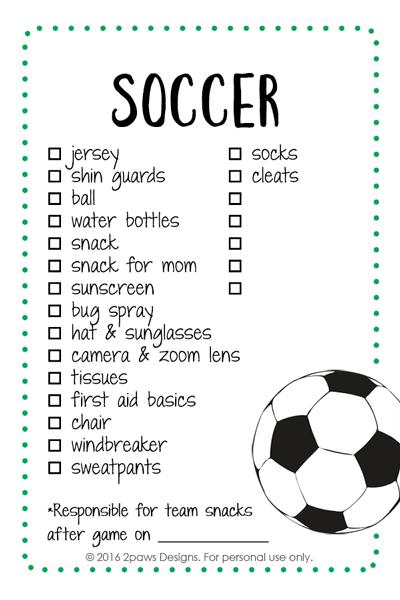Soccer List Printable