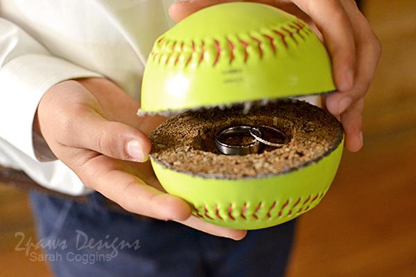 Wedding Rings inside Softball