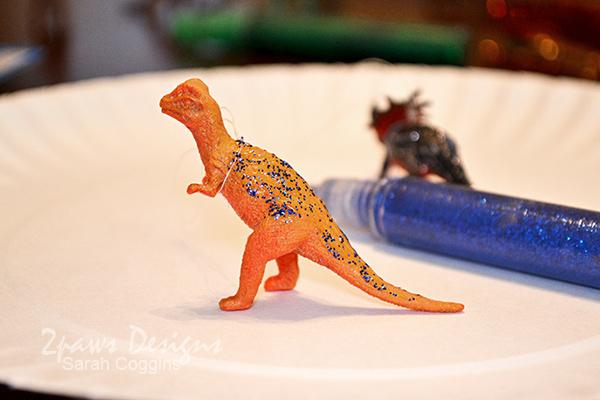 DIY Dinosaur Ornaments: Add Glitter