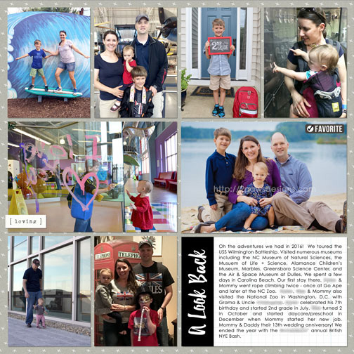 A Look Back at 2016 digital scrapbooking page