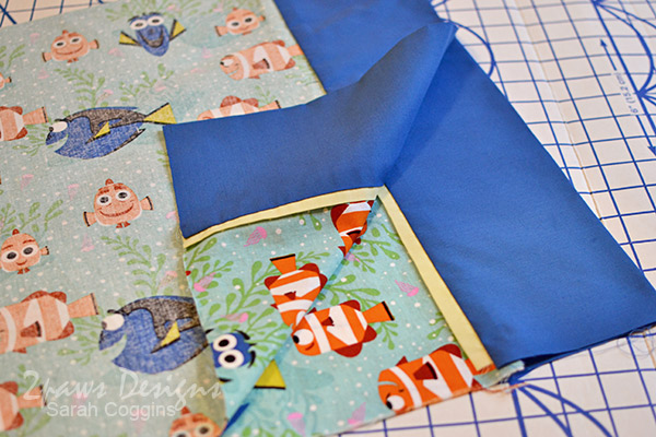 Finding Dory Pillowcase: Right Sides Together