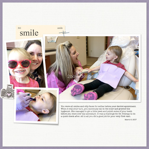 First Dentist Appointment digital scrapbooking page