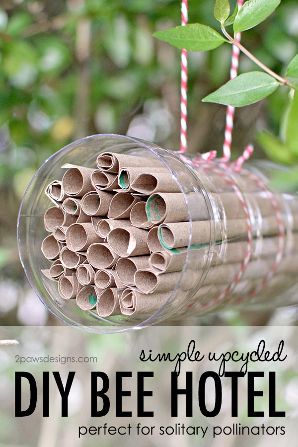 Simple Upcycled DIY Bee Hotel Tutorial - perfect for solitary pollinators