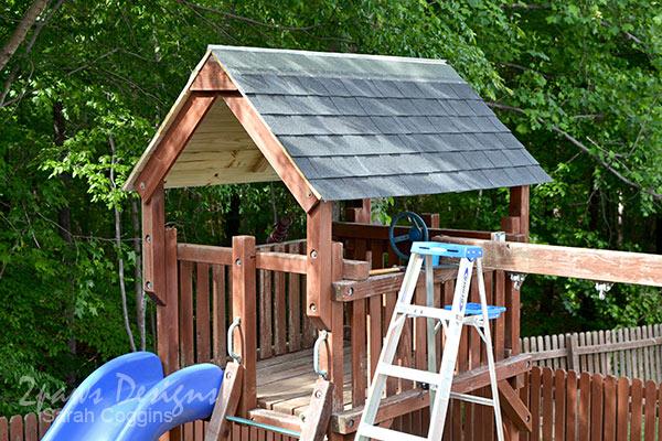 DIY Playset Roof Shingle Installation