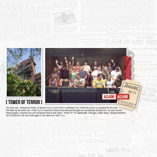 Tower of Terror digital scrapbooking page
