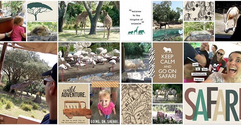 WDW 2017: Kilimanjaro Safari at Animal Kingdom digital scrapbook page
