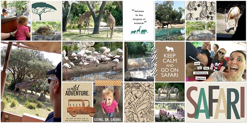 WDW 2017: Kilimanjaro Safari at Animal Kingdom digital scrapbook page