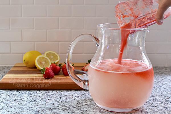 Pour Pureed Strawberries into Lemonade