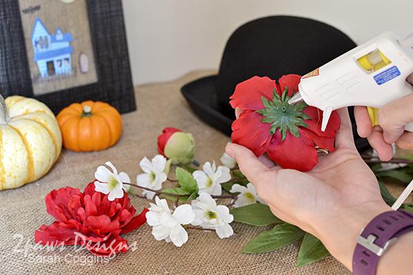 DIY Mary Poppins Hat: Glue Flowers