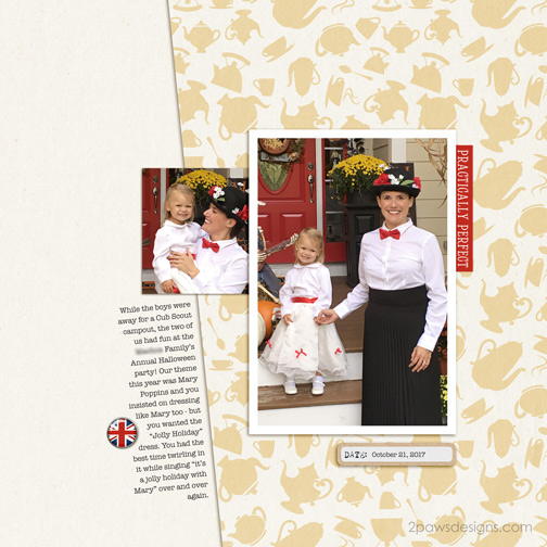 Mary Poppins Halloween digital scrapbook page