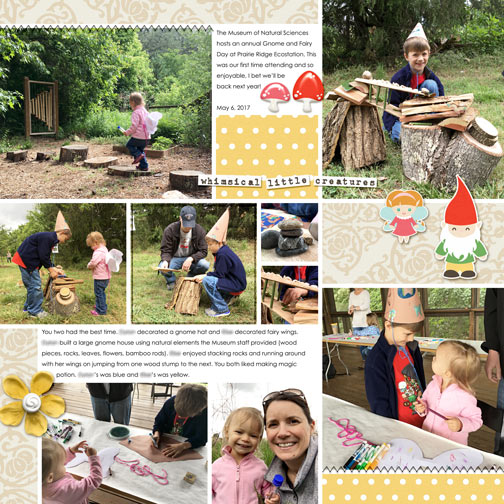 Gnome and Fairy Day 2017 digital scrapbook page