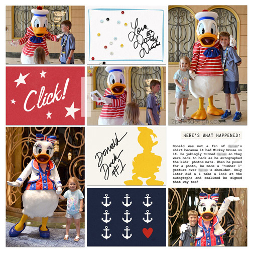 Disney Fantasy Cruise: Meeting Daisy and Donald Duck digital scrapbook page