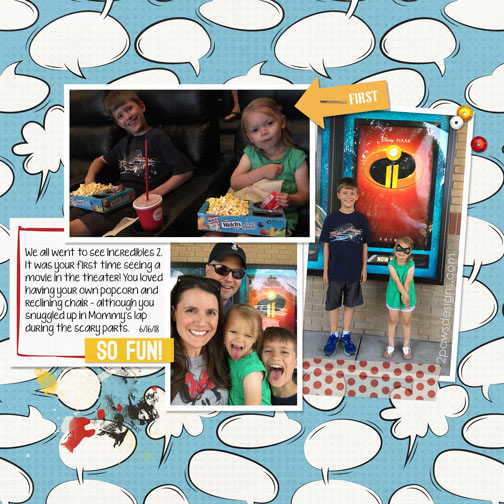 Incredibles 2 digital scrapbook page