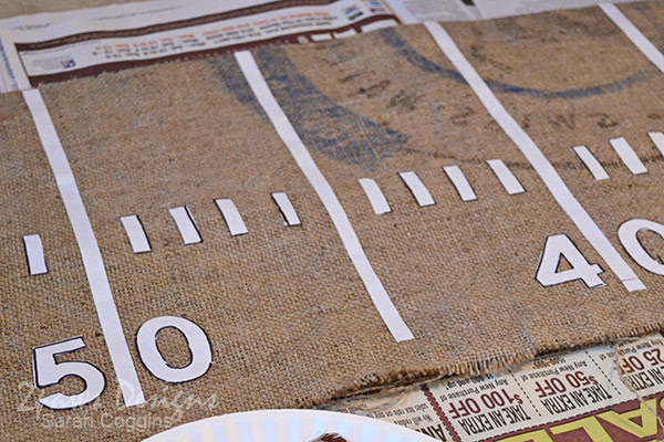 DIY Football Table Runner: Freezer Paper Lines