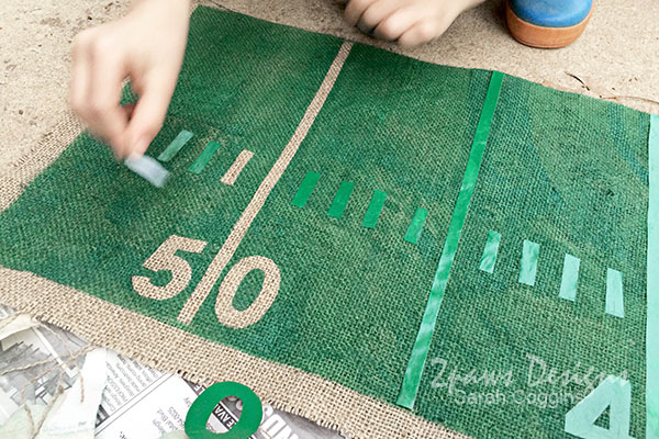 DIY Football Table Runner: Remove Freezer Paper