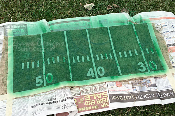 DIY Football Table Runner: Spray Paint Complete