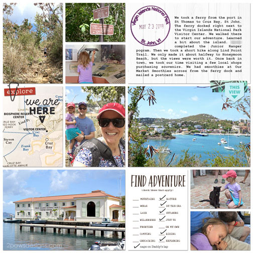 Virgin Islands National Park digital scrapbook page