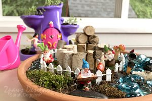 Close up detail photo of a DIY Gnome Garden