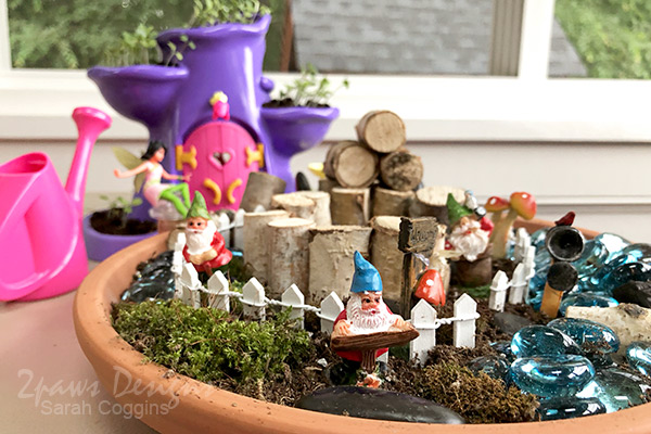 Close up detail photo of a DIY Gnome Garden