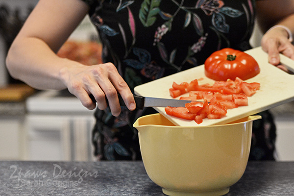 Salad Prep: Add Diced Tomatoes to Bowl