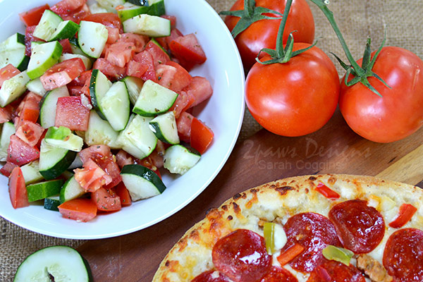 Dinner Idea: Tomato and Cucumber Salad with Pizza