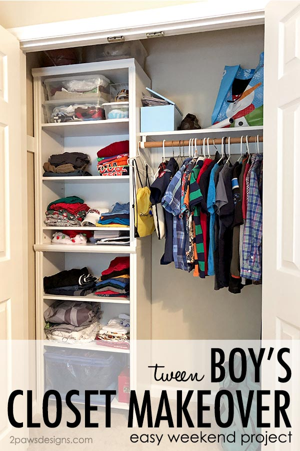 Tween Boy Closet Makeover Title